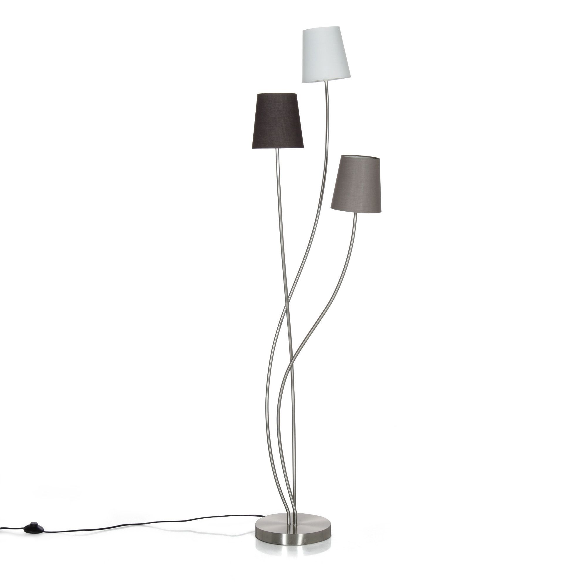 lampadaire lampadaire h165cm en acier gris beige sewal les lampadaires luminaires salon. Black Bedroom Furniture Sets. Home Design Ideas