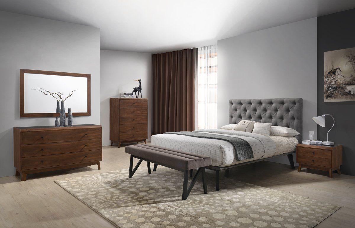 Modrest Gibson Modern Grey & Walnut Bedroom Set | Products ...