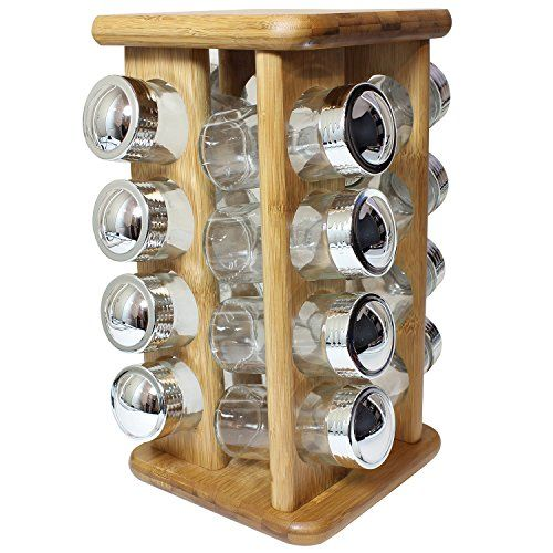 Rotating Bamboo Spice Rack With 16 Glass Spice Jars   Kitchen Accessories  By Bogo Brands