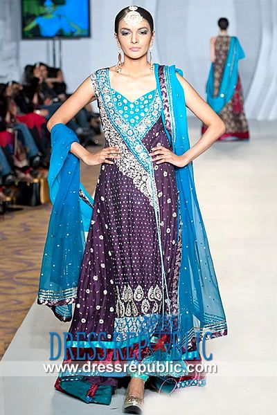 Aubergine Branden - DR8979, Pakistani Indian Designer Angrakha Styles 2013 Collection Buy Online in USA, UK, Canada, Australia by www.dressrepublic.com