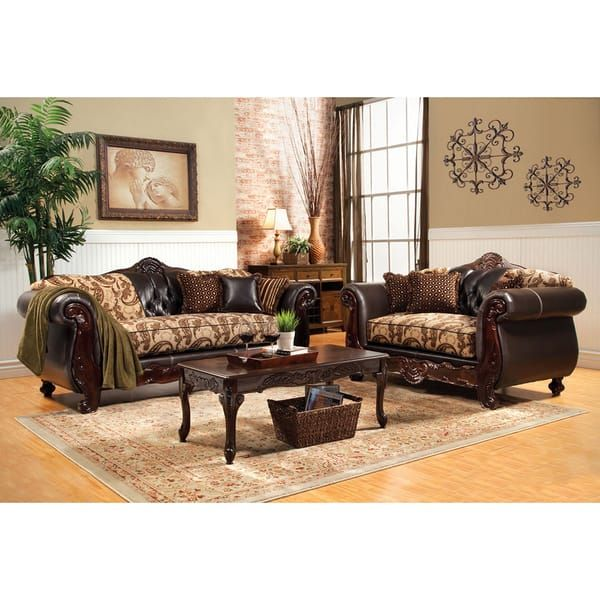 Style Of Furniture of America Marina 2 Piece Floral Fabric and Leatherette Sofa and Loveseat Set  - Lovely Sofa and Loveseat Set In 2018
