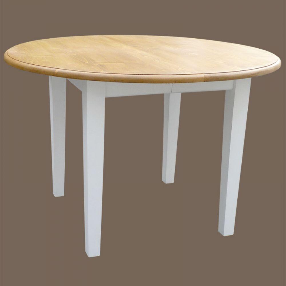 Table Salle A Manger Blanche Et Bois: Table Ronde 2 Allonges En Pin Massif Blanc