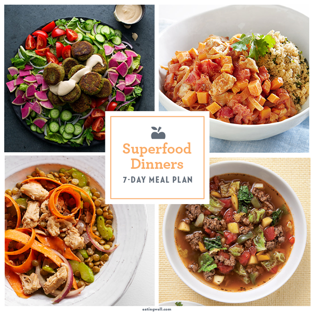 7 day superfood meal plan add some super healthy foods to your diet with a week of dinners full of superfoods this week s meal plan features foods that