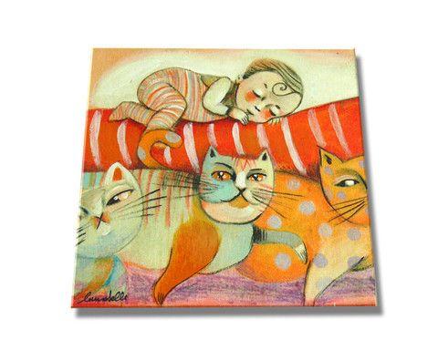 """Mattonella 15x15 """"Dormo felice..bimbo su gatti"""" ideata da LAURABALLA— La Casa di Ninni"""