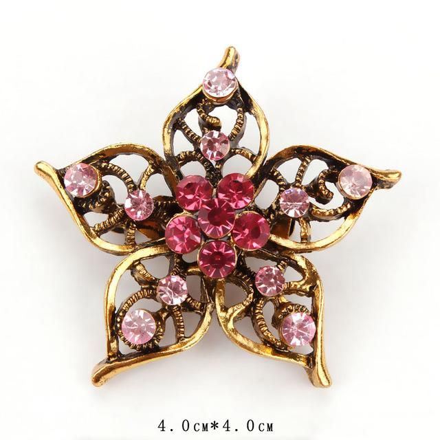 Pink Star Petal Vintage-Style Gold Color Plated Crystal Rhinestone Flower  Brooch Pin d0b10c6a83d0