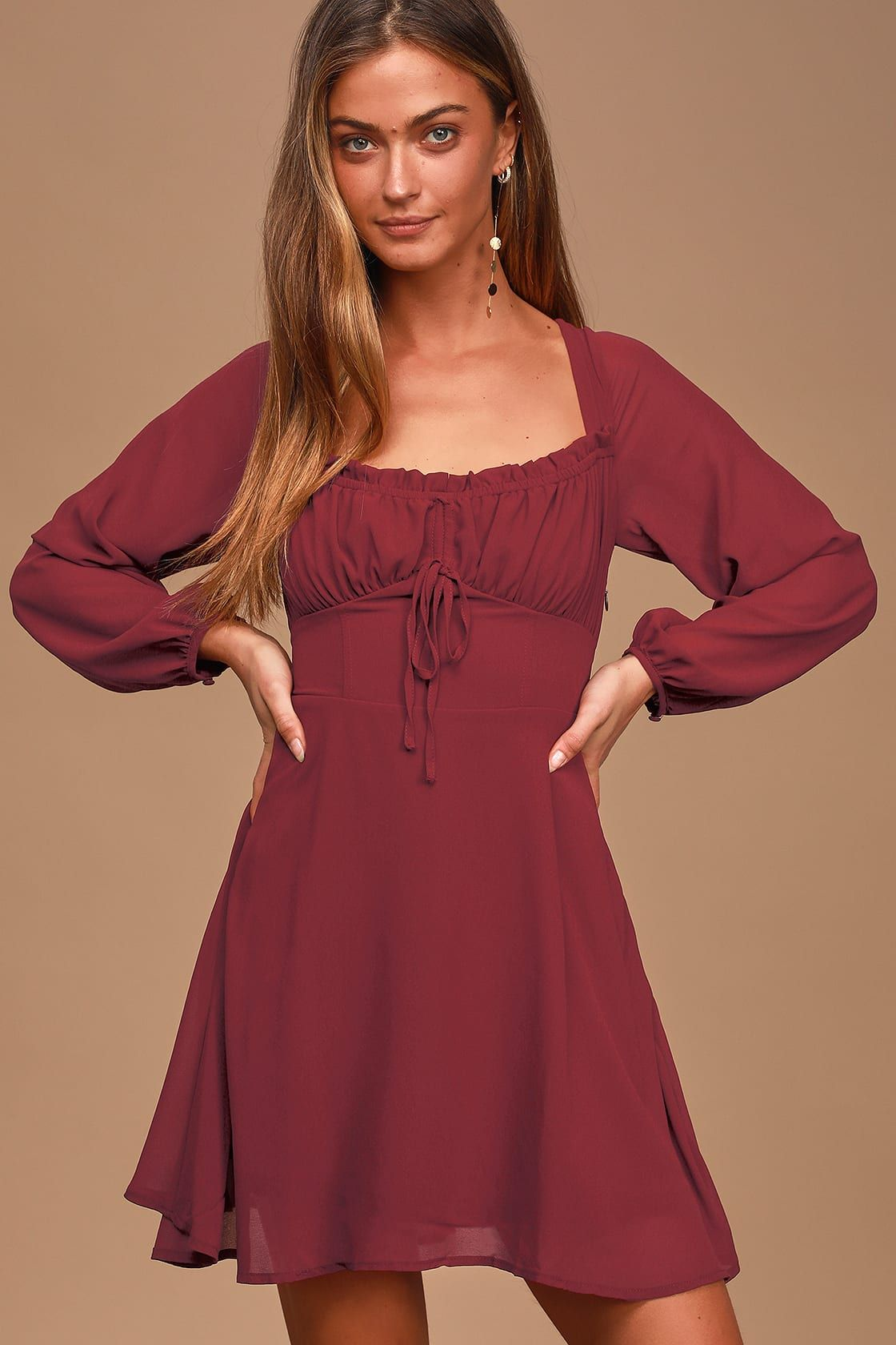 Lovely Day Wine Red Chiffon Long Sleeve Mini Dress Chiffon Long Sleeve Red Long Sleeve Dress Wine Red Dresses Long [ 1680 x 1120 Pixel ]