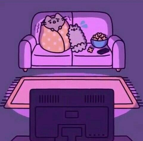 Stormy And Pusheen Seem To Be Watching A Scary Movie Or Episode Or