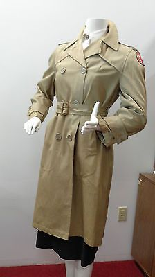 WW2 AMERICAN RED CROSS MILITARY WELFARE UNIFORM RAIN COAT NAMED
