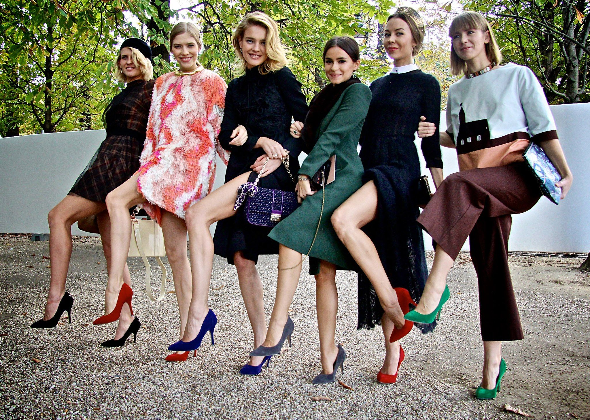 "Russian It-Girls Polina Kitsenko, Elena Perminova, Miroslava Duma, Ulyana Sergienko, and Vika Gazinskaya Wearing Natalia's ""Fairytale"" Shoes..."