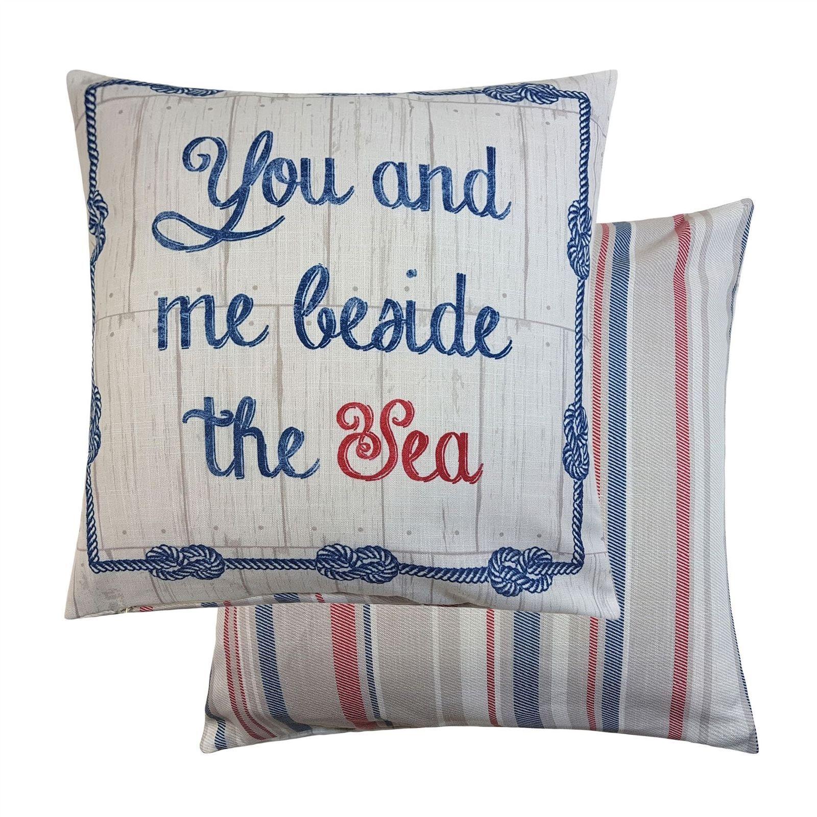 Rathmore reversible stripe words sea blue cushion cover