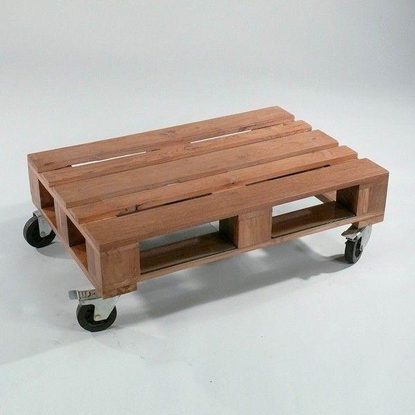 couchtisch euro-palette teak m 1:0,7 - pallet table teak wood on, Innedesign