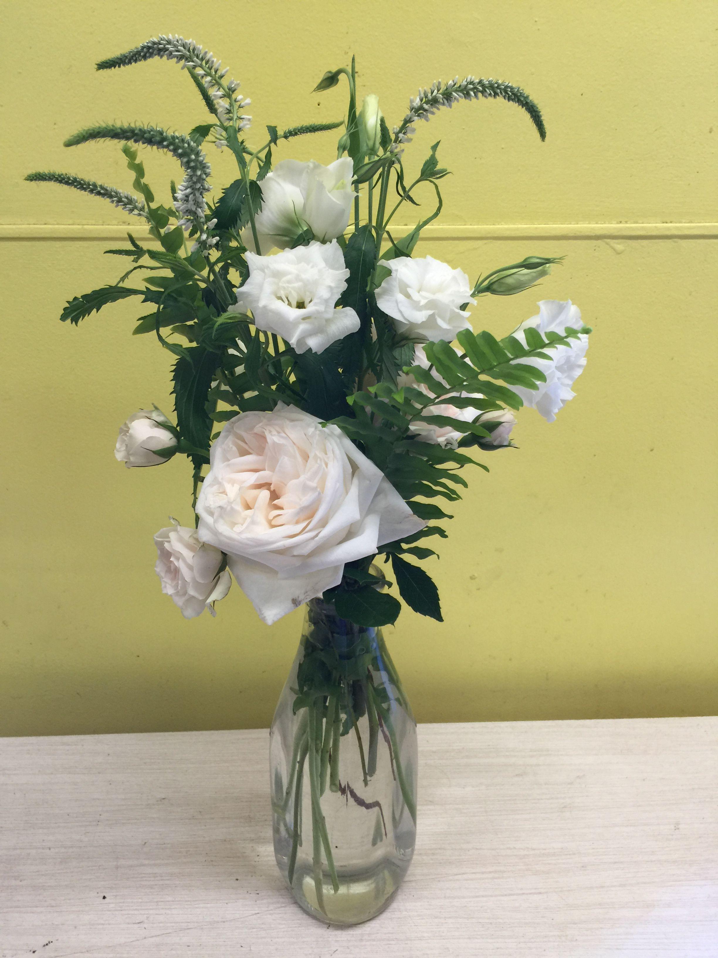 Arrangement Of Blush Garden Rose White Lisianthus White