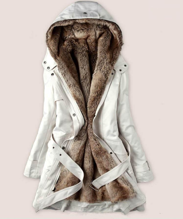 3266df06833a Large Size Fur Coats White Parka Jacket With Faux Fur Lining For Women-Off  White Winter Jacket For Women