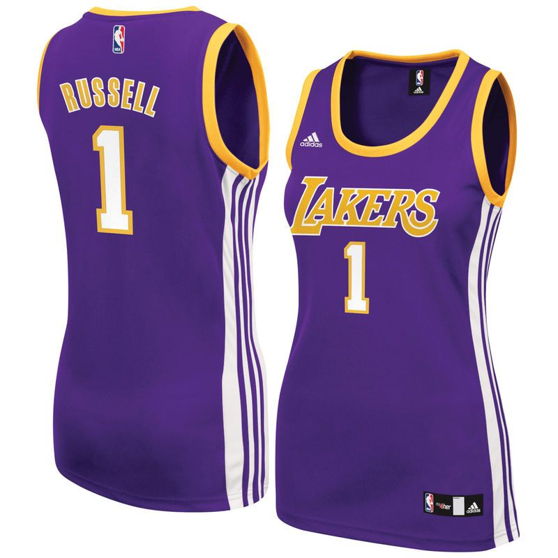 D Angelo Russell Los Angeles Lakers Adidas Women S Road Replica Jersey Purple Los Angeles Lakers Fashion Unique Fashion