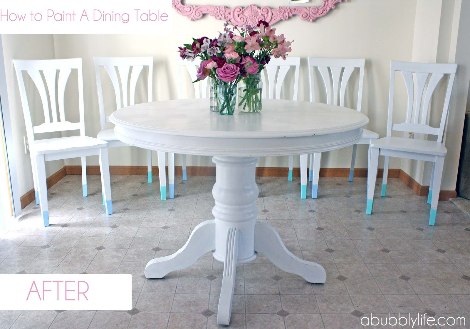 How To Paint A Dining Room Table Chairs Makeover Reveal A Bubbly Life Painted Dining Table Dining Table Chairs Dining Table Makeover