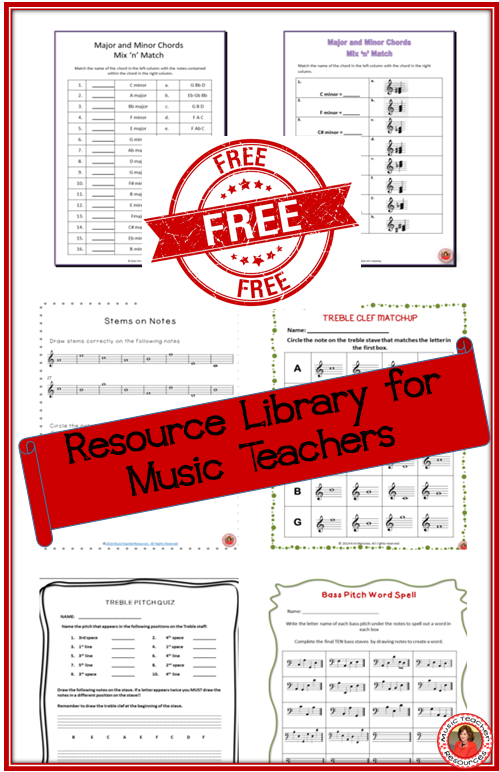 Free music worksheet Resource Library for music teachers! Music worksheets free to download!! ♫ CLICK through to read more or Re-PIN for later! ♫