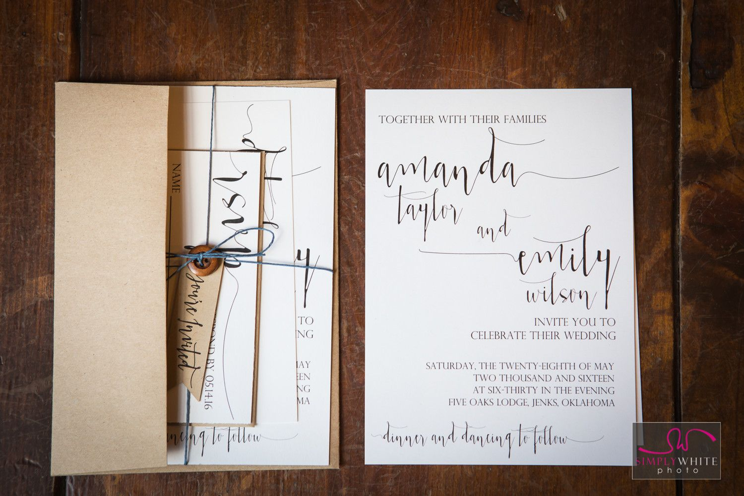 Rustic Wedding Invitations Parchment Paper Buttons And Twine