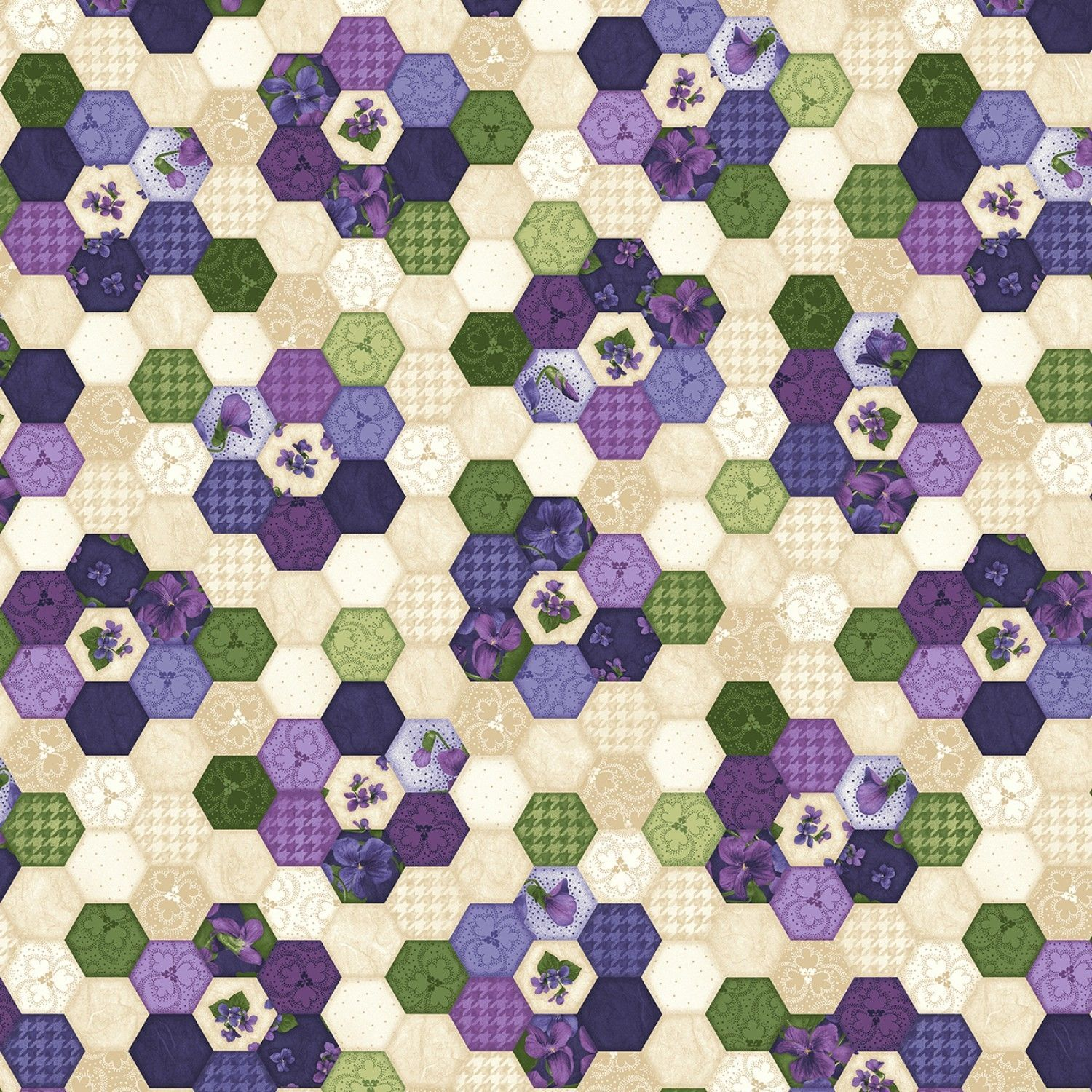 Hexagons Multi Arabella Debbie Beaves Floral Quilt Fabric by the 1 2