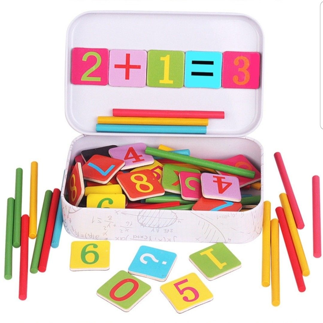 Baby Math Toy Wooden Stick Magnetic Mathematics Puzzle