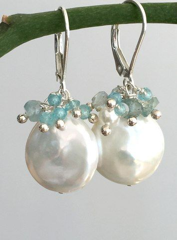 Coin Pearl Clusters in Blue #pearljewelry