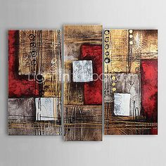 Oil Paintings Set of 3 Modern Abstract Reds Brown Hand painted