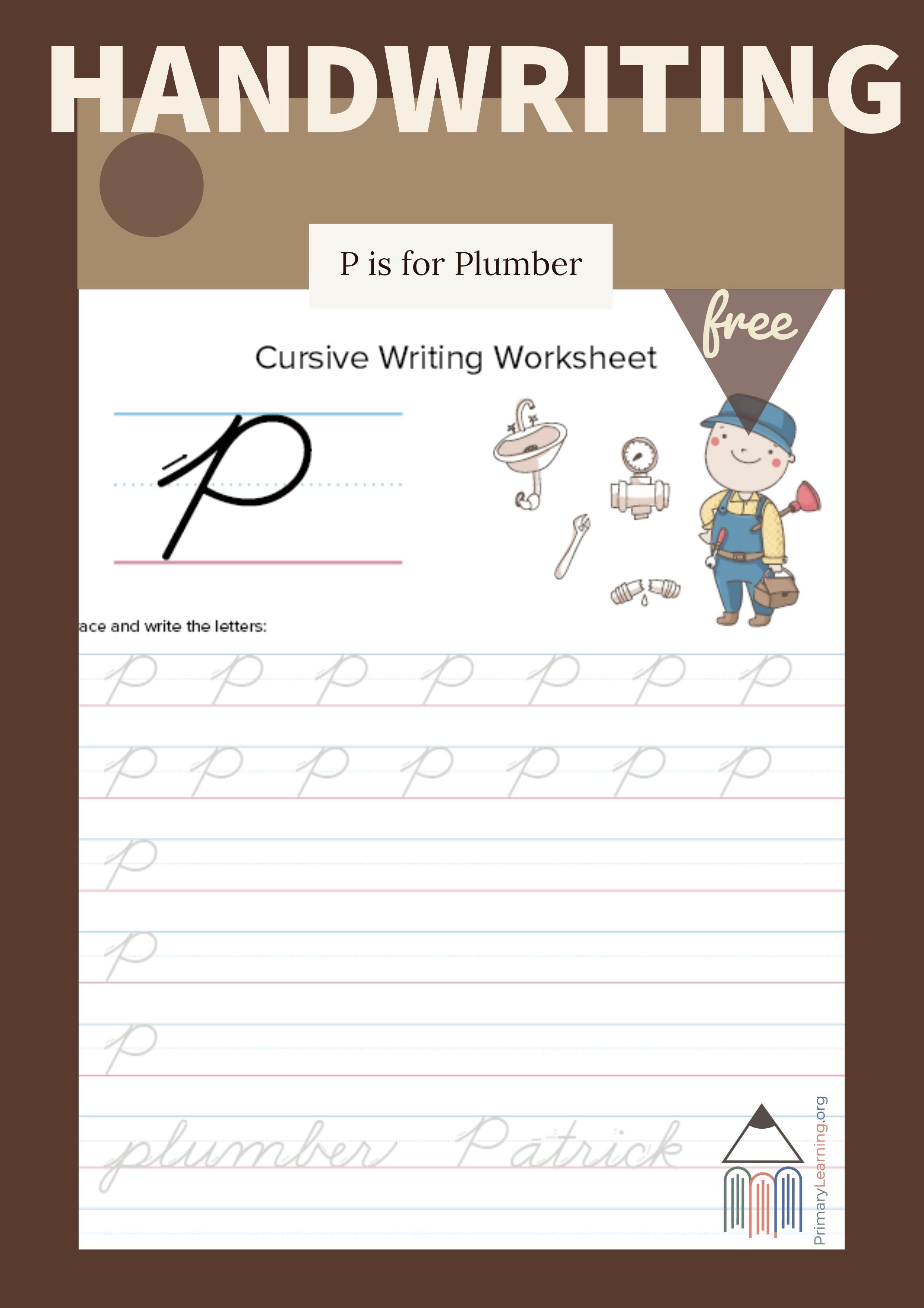 Cursive Uppercase P Worksheet