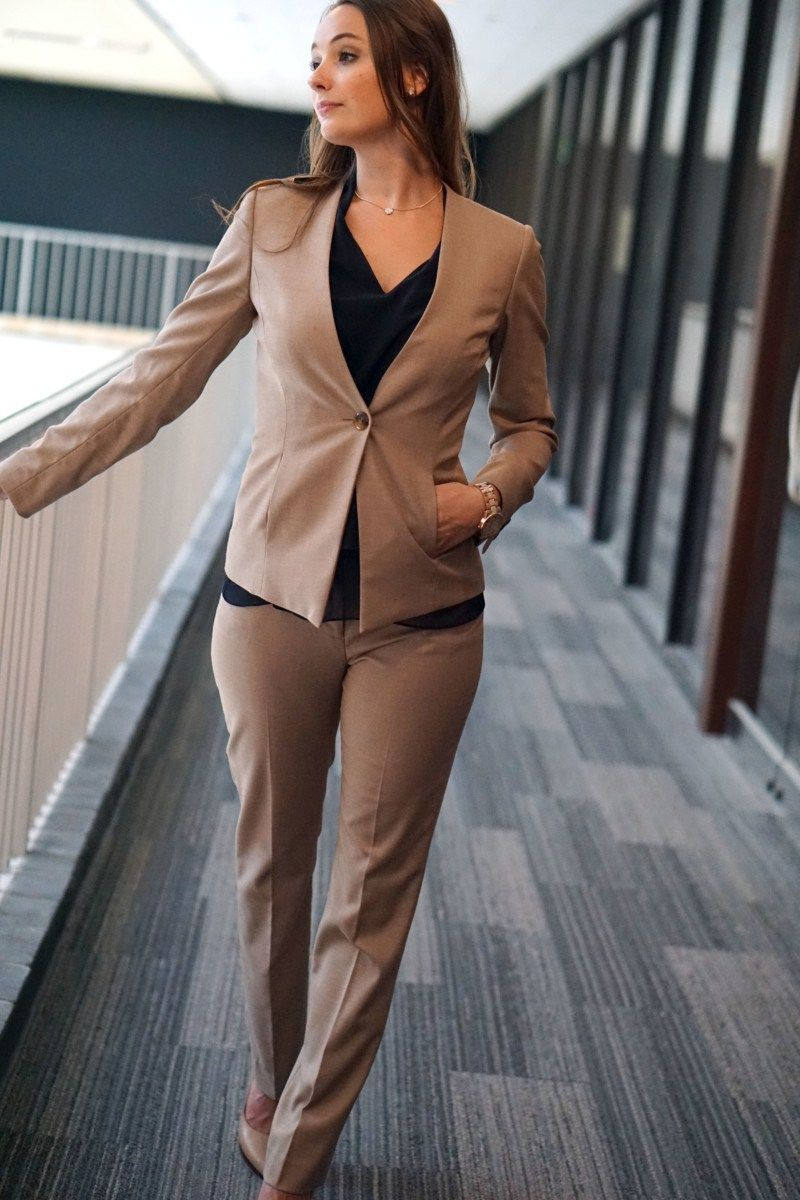 camel pant suit collarless blazer reese erspoon pant w wearing pant suit for business formal attire great for interviews or client meetings