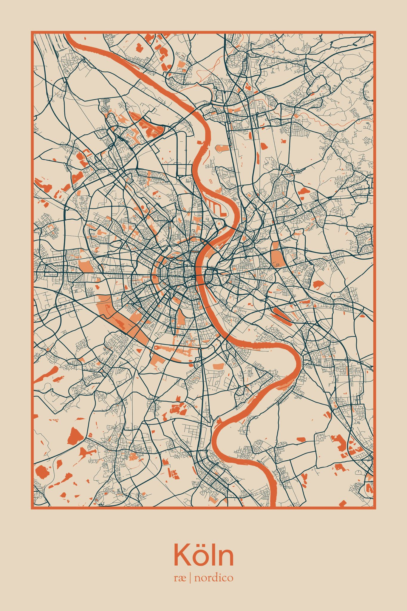 Cologne map print Show Me the Way