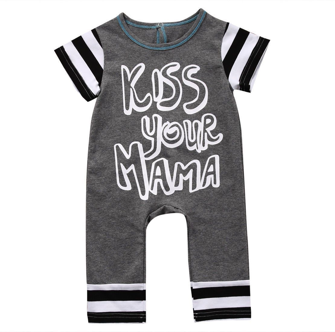 f3c2ad57f04f Baby Girl - Romper - Short Sleeve - Kiss Your Mama Print - Grey Free  Shipping! Please Allow 2-4 weeks for delivery.