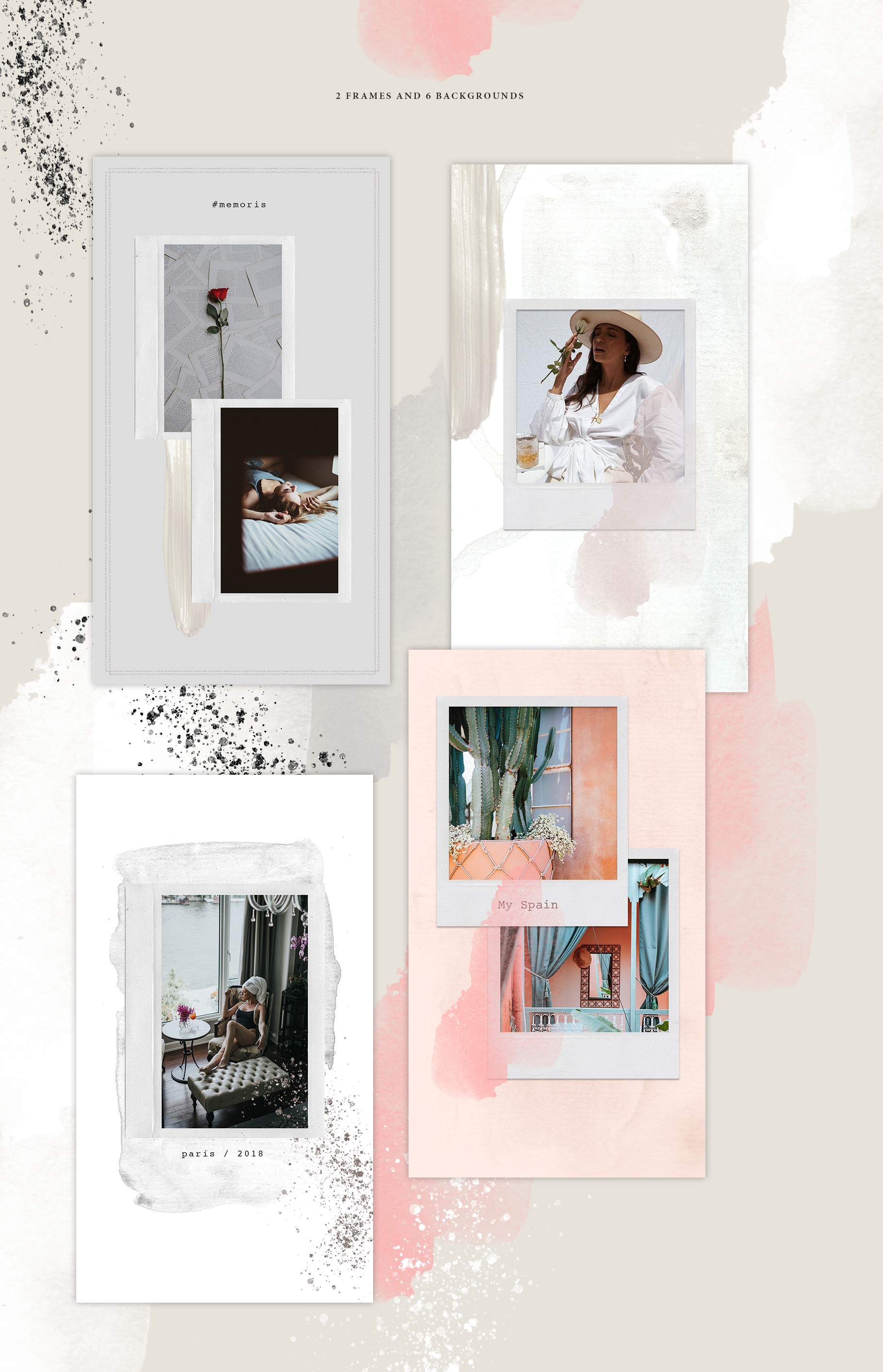 Instagram Stories Template Polaroid Social Media Template Insta
