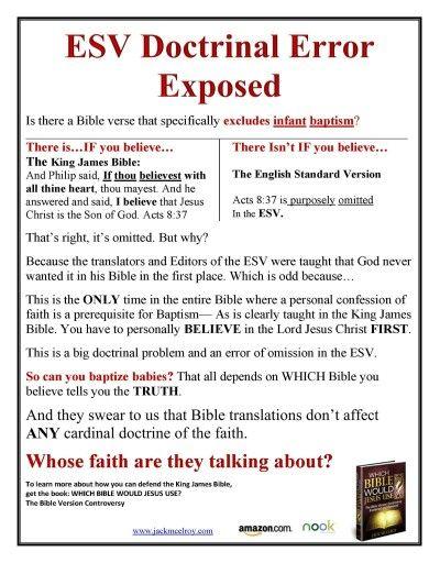 Esv Doctrinal Error Exposed Bible Version Translation King Jame Personal Statement