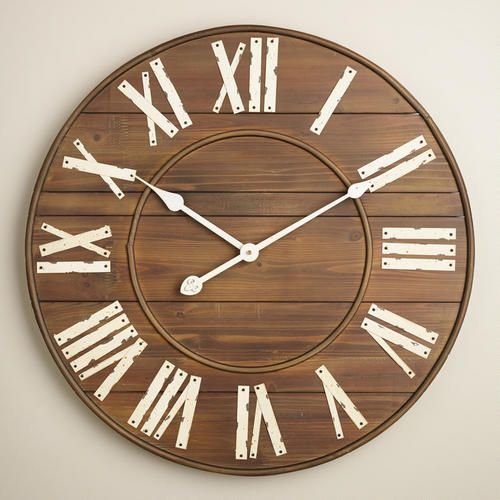Featuring Riveted Details And Ivory Metal Roman Numerals, Our Slatted Wood  Wall Clock Adds Vintage