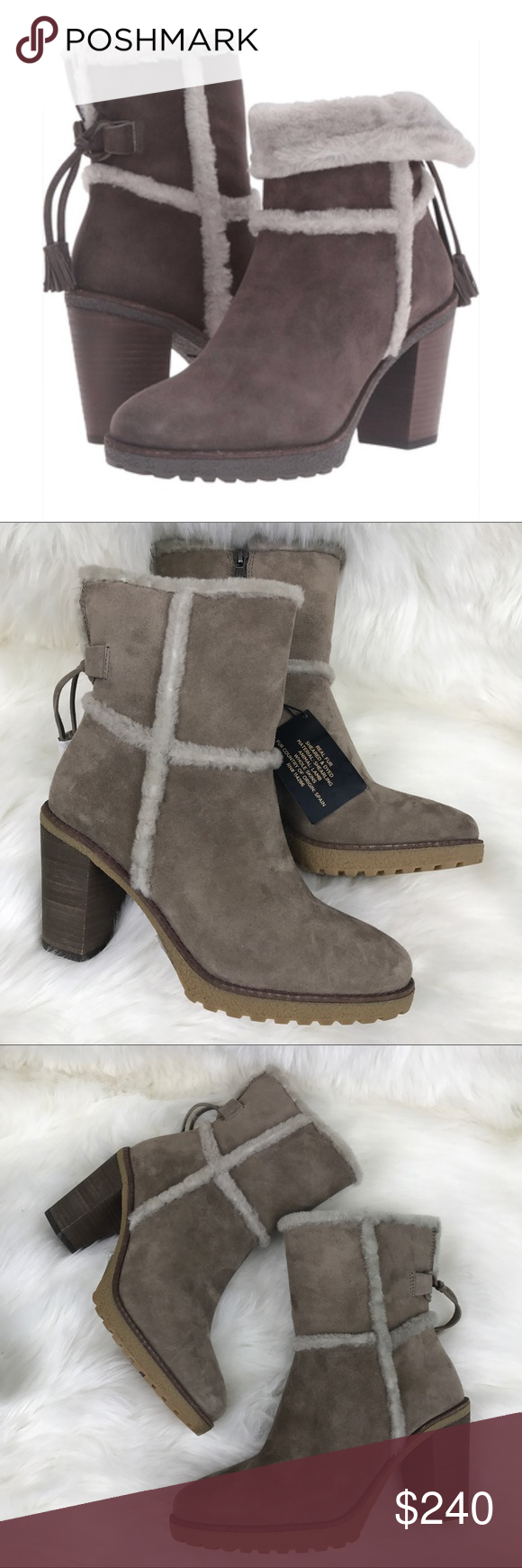 b7d6b6ceca0 Frye Taupe Jan shearling boot short fur . Textured trim for a fashionable  twist. Handcrafted