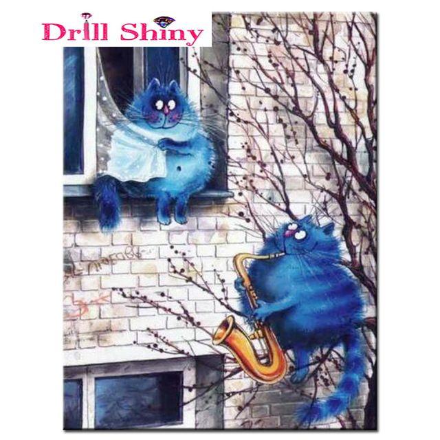 diy diamond embroidery 5d diamond painting diamond mosaic cross stitch cartoon cat