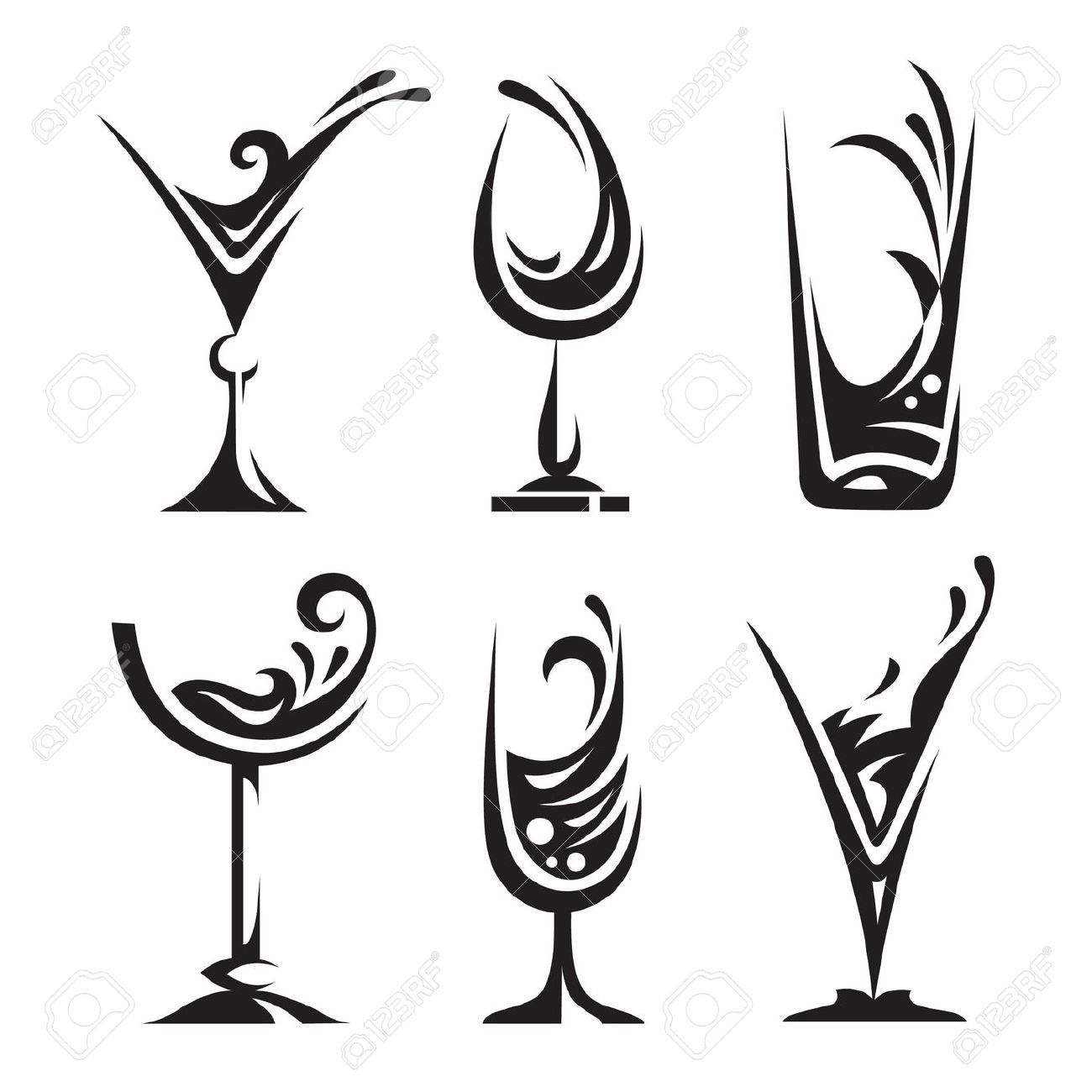 Stock Vector Wine glass drawing, Glass collection