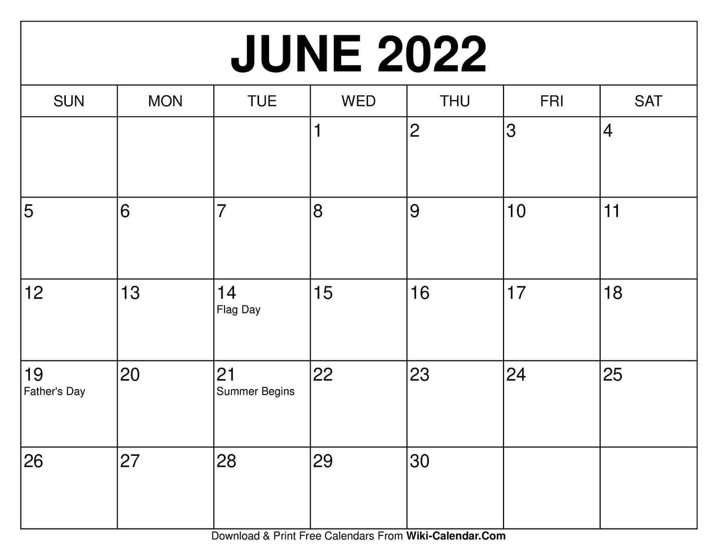 Blank Calendar 2022 June.June 2022 Calendar Calendar Printables Free Calendars To Print Print Calendar