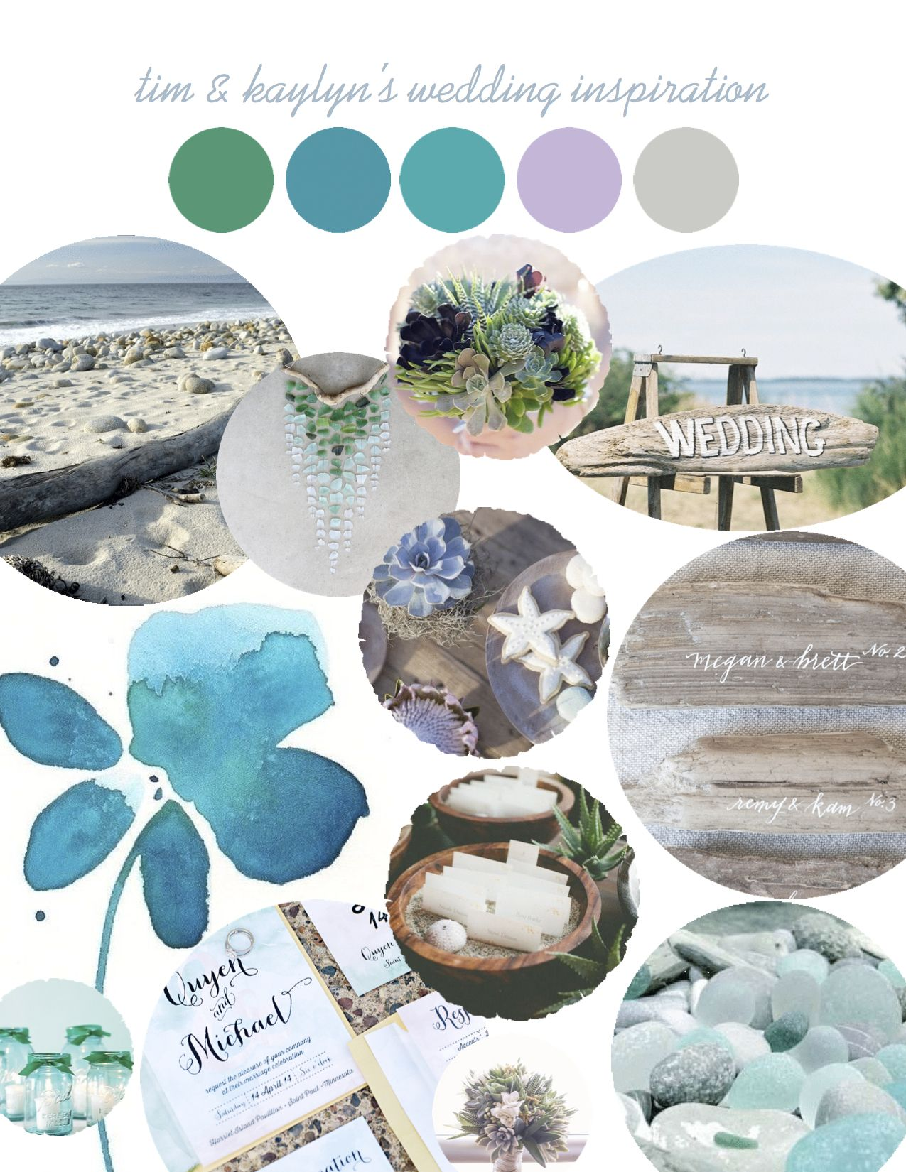 Some of our wedding inspiration! Emerald, teal, turquoise, lavender, and grey. And other more muted tones of each. Driftwood, succulents, sea glass, and watercolor.