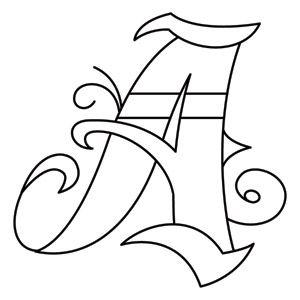 Inked Letter Monogram A design (UTH8062) from UrbanThreads