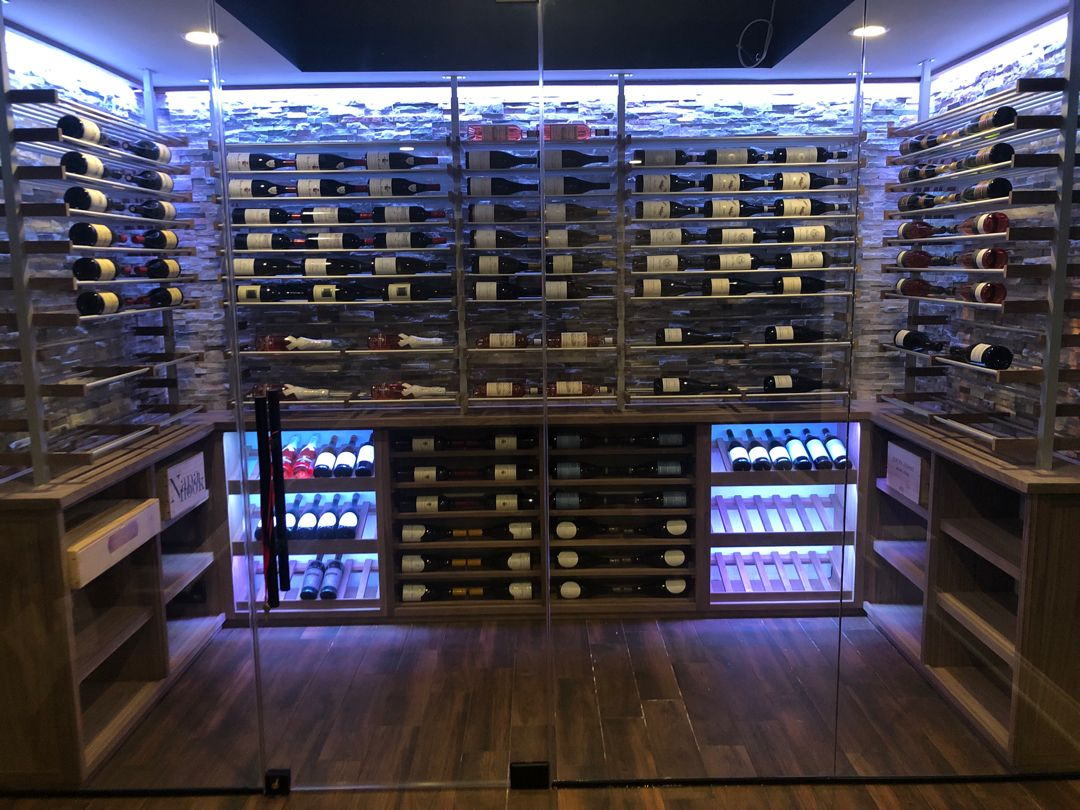 Glass Enclosed Wine Room W Ducted Cooling System Tile Floor