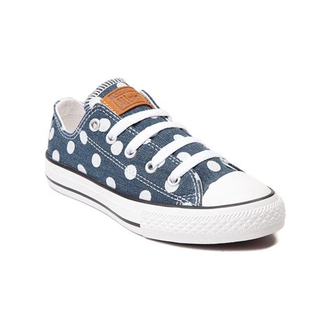 Don't be spotted without the Lo Dots Sneaker from Converse! Flaunt your  spots with these Lo-top chucks, featuring a polka-dot printed denim upper  with ...