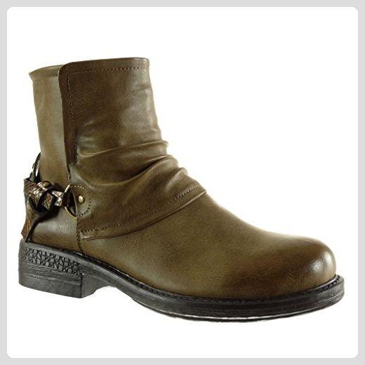 Angkorly Biker Reitstiefel damen Schuhe Stiefeletten Fuc3lKT1J