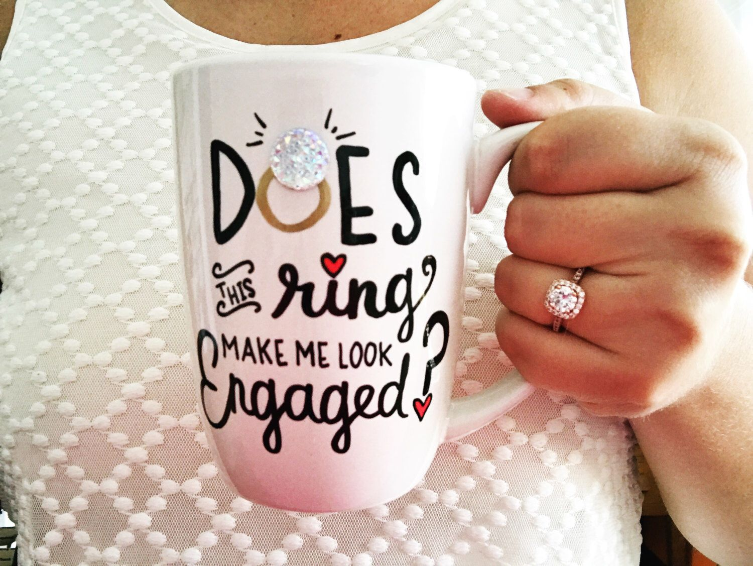 funny wedding card messages for friends%0A Does This Ring Make Me Look Engaged Mug  Engaged Mug  Engagement Gift  Newly