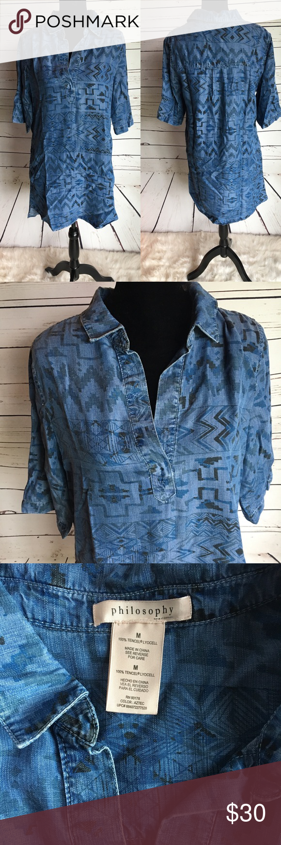 d4a4861f3e5 Philosophy chambray denim shirt dress Aztec tunic Philosophy denim chambray shirt  dress style tunic. Aztec