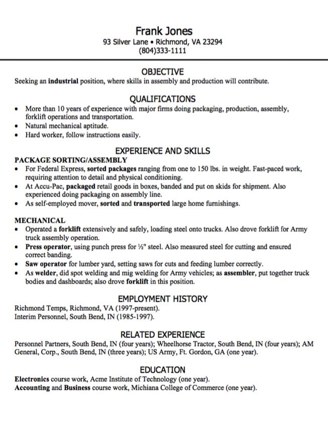 Industrial Position Resume Sample Examples Resume Cv