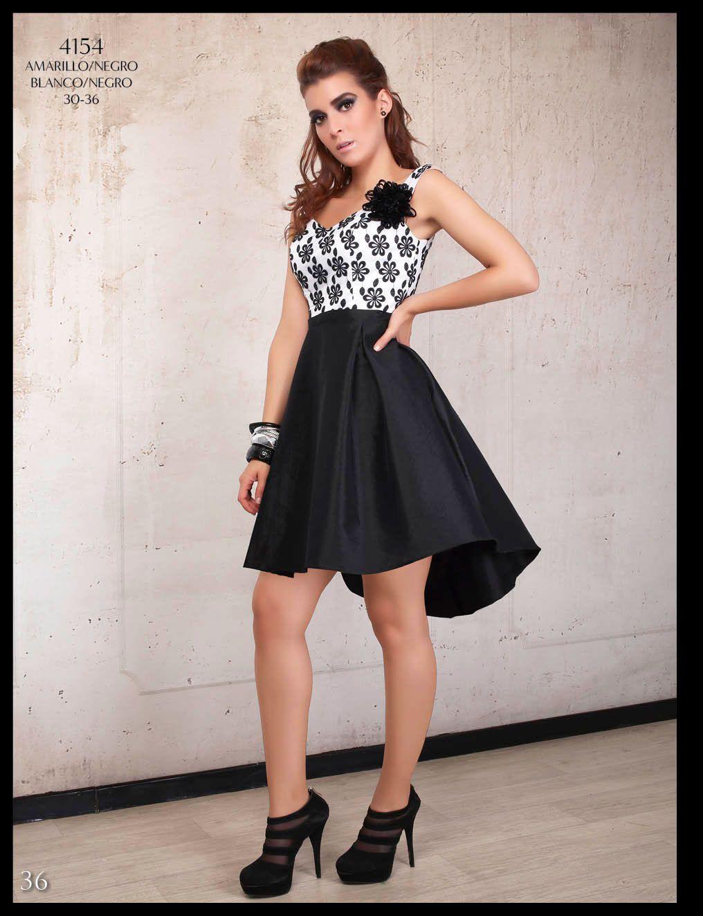 3c7c958c6 vestido dama cola de pato negro y blanco