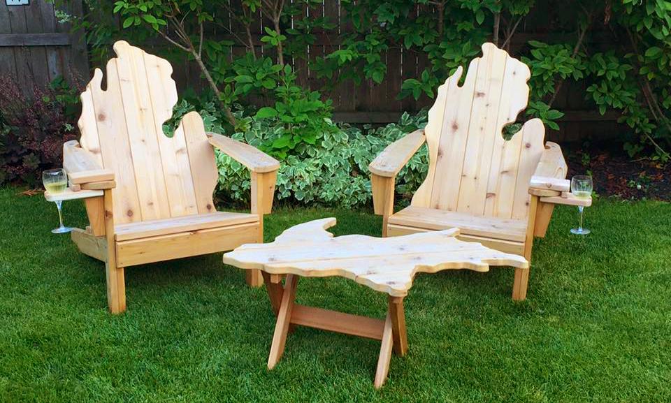 Peachy Hand Made In Michigan Michigan Shaped Adirondack Chairs In Bralicious Painted Fabric Chair Ideas Braliciousco