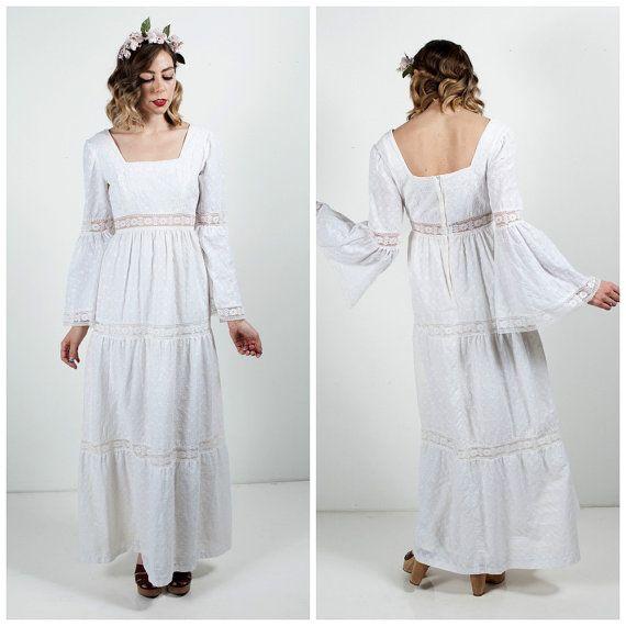 Vintage 1970\'s Long White Boho Dress/Vintage 70\'s Maxi Dress/ Boho ...