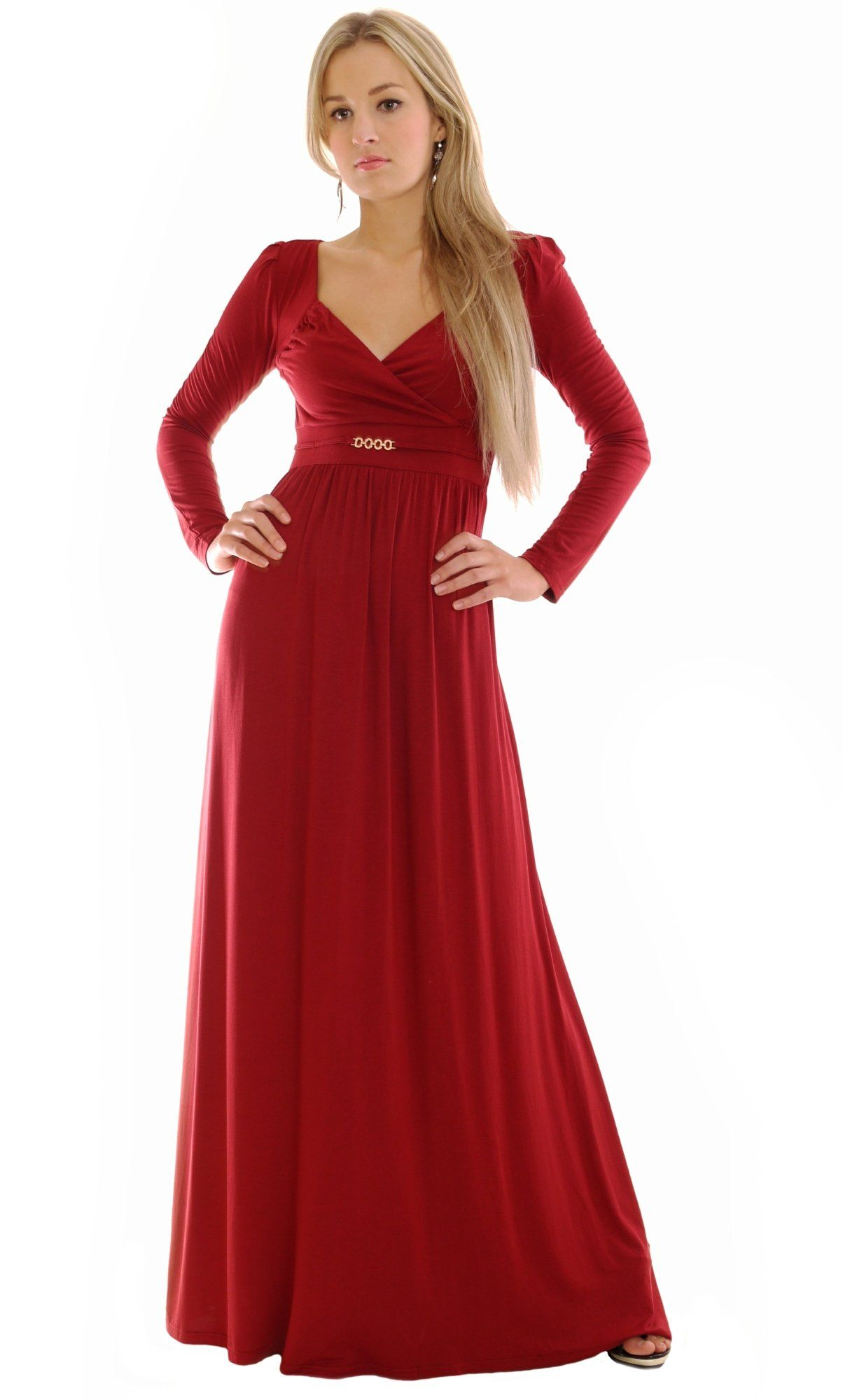 Long Sleeve Maxi Dress Burgundy Empire Style by MontyQ 150cm Overall ...