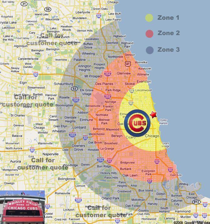 Chicago Wrigley Map Wrigley Field Limo Service Wrigley Field