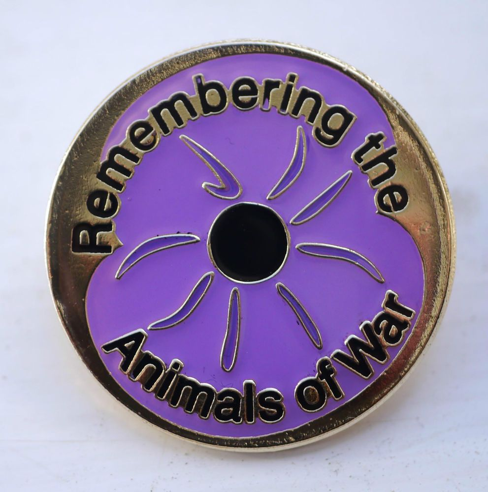 Animals In War /'REMEMBERING THE ANIMALS OF WAR/' Purple Poppy Remembrance DAY NEW